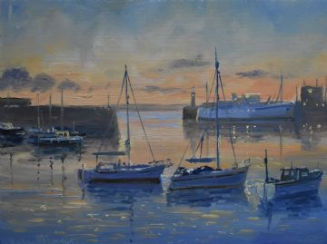 Richard Blowey Original Oil Painting Boats At Penzance Harbour Cornwall